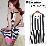 Sexy  Fashion Tops Shirts  New 2014 Black White Vertical  Striped Sleeveless Vest Blouse Free Shipping Tracking Number