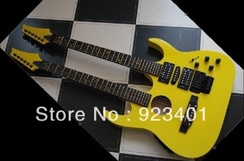 best Factory Mahogany guitar Gloss Yellow 66 Double neck Acoustic electric guitar Combo