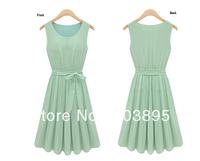 (Free Shipping)2013 Brilliant Ladies Mint Green Chiffon Dress Fashion Casual Bow Mini Brand Sleeveless Women's Summer Wear