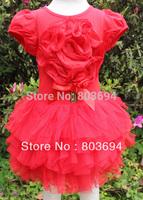 2014 new design B2W2 girls summer red flower dress 5pcs/lot 5pcs/lot CA36