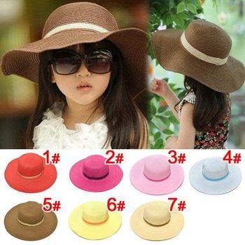 2015 весна детский соломенная шляпа цветочная девушка крышка девочка летние шляпы девушка шляпа солнца пляж козырек шляпа