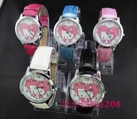 Sales Promotion Free Shipping Hello Kitty Quartz Watch Children fashion Leather wrist watch 20pcs/lot