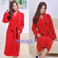 Autumn and winter elegant women's red  sleepwear fashion super soft coral fleece robe bathrobes