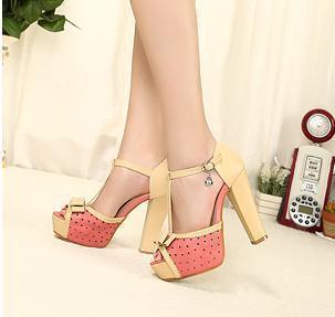 Open toe shoe female 2013 c platform bow n thick heel sandals high-heeled shoes princess