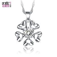 Birthday gift schoolgirl 925 pure silver necklace rhinestone pendant love jewelry heart silver jewelry short design