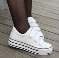 2013 spring and summer all-match velcro platform canvas shoes young girl casual board shoes
