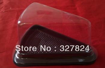 wholesale- free shipping 200pcs/lot triangle plastic cupcake box /cake holder gift cake box clear cheese cake box bottom black