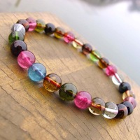 Natural 6.8mm women's tourmaline bracelet