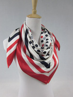 FREE SHIPPING!!! spring silk neckerchief scarves shawls with dot pattern red and black color 100% silk satin (SF006)