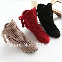 Free shipping 2013 new woman Summer boots  cutout  ,spring and autumn single shoes size 34-43