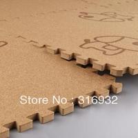 WM018 Puppy printed Baby Puzzle Floor Mat ,Cork Wood style Mat, 9 pcs/pack 9 pcs/pack
