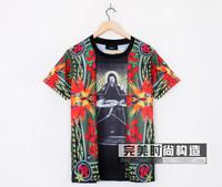 fashion men's giv cotton short sleeve t-shirt shirts bird of paradise print t-shirt tees tops blouse top quality