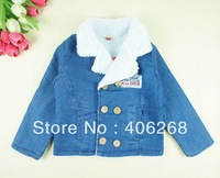 free shipping  2013 new best quality fashion brand children clothing  denim Children cotton-padded jacket Thick coat