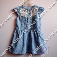 5pcs/lot( 2-8T) Wholesale Baby Girls Denim Dot Short Sleeve Ruffle Lace Dresses free shipping