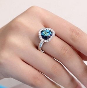Min.order is $8 (mix order) Free Shipping & Korean Titanic Heart of Ocean Blue Decorated Rings for Women XY-R74(China (Mainland))