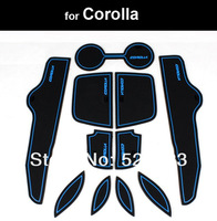 Free Ship For Toyota   Corolla 2009 10 11 2012  Silicon Non-Slip Interior Door Mat Cup Mat 11pcs- Blue & Black