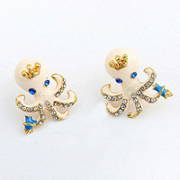 B188 fashion accessories oil white octopuses stud earring
