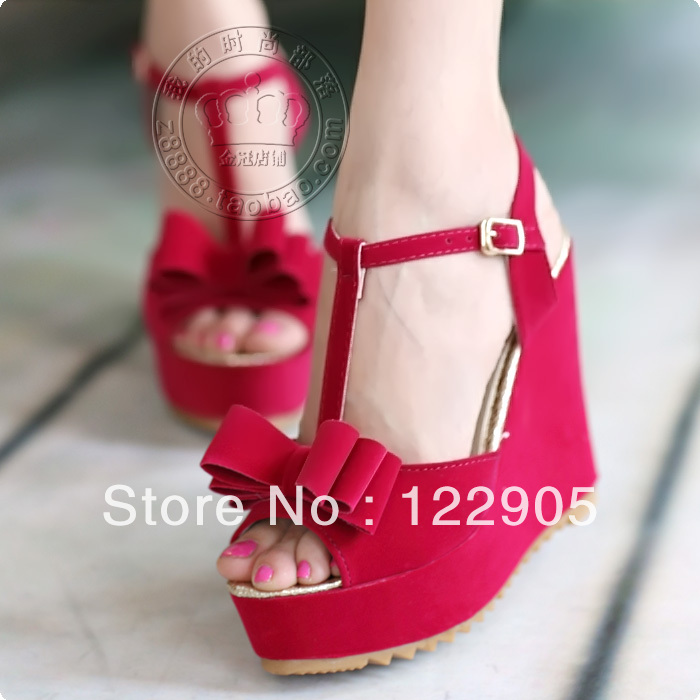 2013 New hot sale Summer Sandals female shoes casual ultra high heel platform wedges flat-bottomed bow platform casual shoe S33(China (Mainland))
