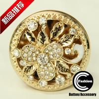 Buttons button quality rhinestone mink diamond tea gold big glass diamond 38mm