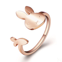 Rabbit pinky ring rose gold card ring color gold accessories small accessories lovers finger ring