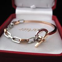 Rose gold titanium bracelet t buckle bracelet lovers bracelet