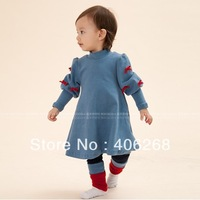 solid color dress   2013 new best quality fashion brand children clothing  Bubble Sleeve bowknot girl's dress princess dress