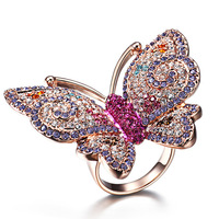 Smart fashion rose gold ring butterfly cubic zircon ring ka33