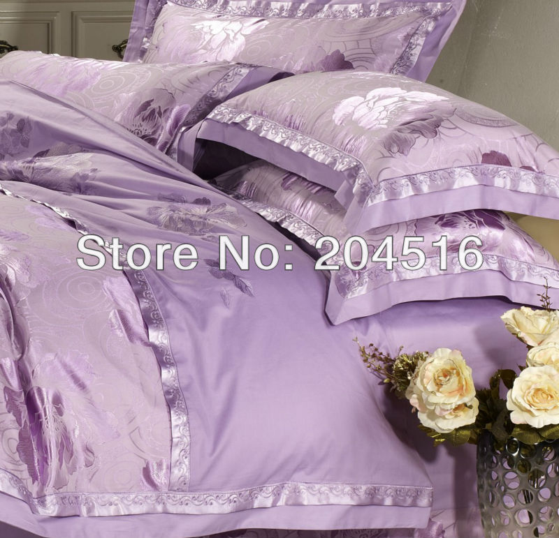 Luxury Bedcover 4pcs Jacquard bedlinen Flat Bedsheet set cotton SILK bedding set king queen Purple Quilt/comforter cover set(China (Mainland))