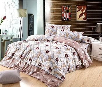 Free Shipping Hotsale Bear&Diamond Printed Diamond Cotton 4pcs King/Queen Bedding Set/Duvet Cover/Bed Sheet/Pillowcase W0037