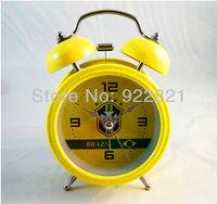 Free shipping football fan metallic dobule bell alarm clock with Brazil National Team logo , Brazil Football fans souvenirs