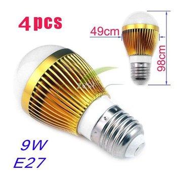 4pcs Hot selling~ High Power E27 9W 85-110V/220-265V LED Light LED Bulb LED Spotlight