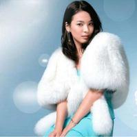 Ivory Faux Fur Stole Wrap Shrug Bolero Coat Bride shawl  01
