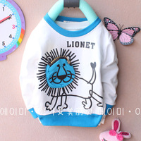 Free shipping baby clothing cartoon t-shirt solid color lion head t-shirt 4pcs/lot 1-3years 100% cotton