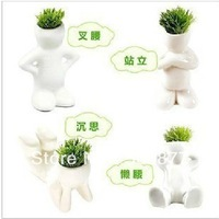 Free Shipping Home Decoration Mini DIY White Man Magic Grass Planting Creative Lovely Gifts Plant Hair Office Decoration Bonsai