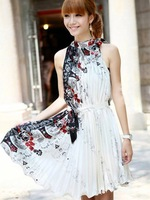 2013 Free Shipping Vintage Pleated Dress Sleeveless Print Dresses