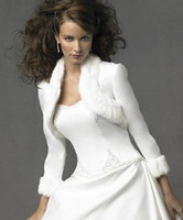 long sleeves Lady Ivory Faux Fur Wrap Wedding Shrug Bolero Stole Jacket Bridal Shawl 05