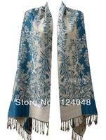 New turquoise Chinese Women's Silk Pashmina Shawl Scarf flower PTH-3