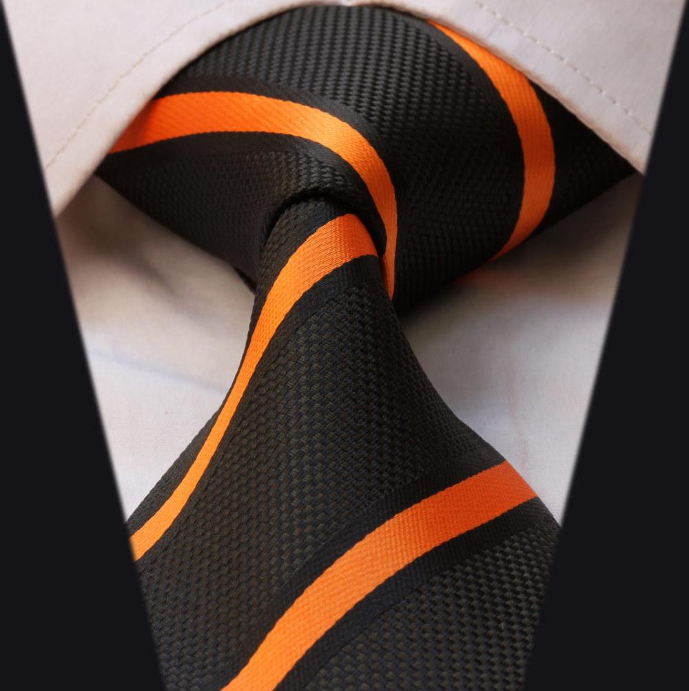 Ts2002n оранжевый черная полоса новый 100% шелк жаккардовые классические мужские галстук