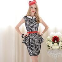 White black lace ol elegant turn-down collar belt skirt sleeveless shirt top