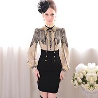 Beige lace print royal elegant slim shirt a