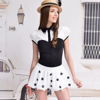 Pink baby doll 2013 spring and summer white chiffon flower all-match knickerbockers