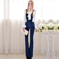 2013 blue super slim long suspenders horn trousers