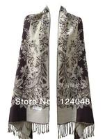 New coffee Chinese Women's Silk Pashmina Shawl Scarf flower PTH-1