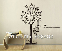 2013 New Design Vinyl Wall Stickers Tree and Birdcage Giant Home decoration Wall decals 180 * 185CM