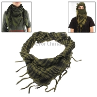 Unisex Checkered ARAB Shemagh Desert Army tactics Scarf windproof Keffiyeh and dustproof outdoor scarf ( Deep Green )(China (Mainland))
