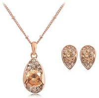18K Gold Plated Crystal Necklace/Earrings Fashion Austrian Crystal Set Wholesale Fashion Jewelry MG710