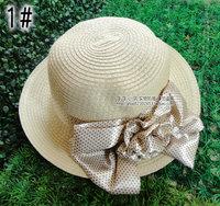 Strawhat female beach hat sun hat sunbonnet leopard print bow strawhat straw braid bucket hats folding