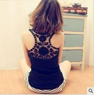 B27 back cutout lace crotch vest spaghetti strap basic vest female 95g
