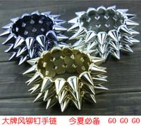 Wholesale 100pcs/lot Fashion accessories trend spike hedgehogs 3 rivet bracelet strap fashion punk bracelet