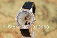 DDT085 Hot watch fashion watch black PU watch with diamonds
